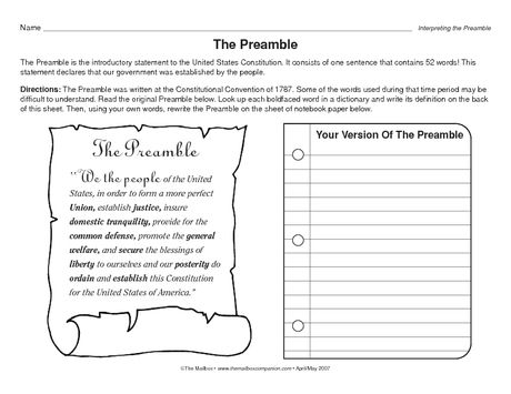 Interpreting The Preamble Social Studies Worksheets Preamble