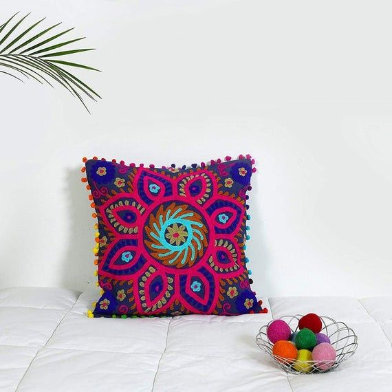 Indian cushions cover ethnic pillowcase 20x20 pillow cover suzani pillow cover 16x16 multi color dec