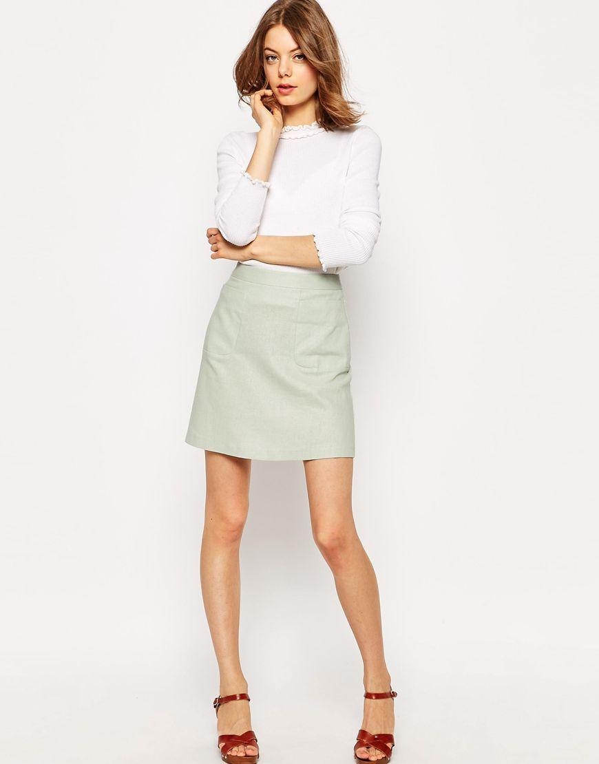 12bb0aa5ddda ASOS+A-Line+Linen+Skirt+with+Pocket+Detail | Wear | Linen skirt ...