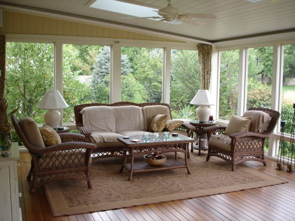 screened porch A large outdoor space designed for summer