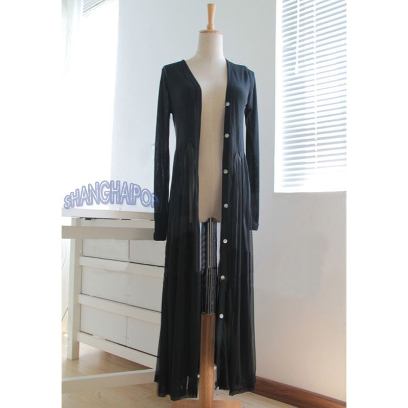 Lady Sheer Shirtdress Button Down Maxi Cardigan Dress Long Beach ...