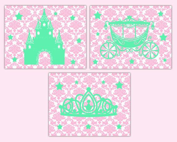 Princess Nursery Print Wall Art Pink Gray Damask Baby Girl Tiara Castle Decor