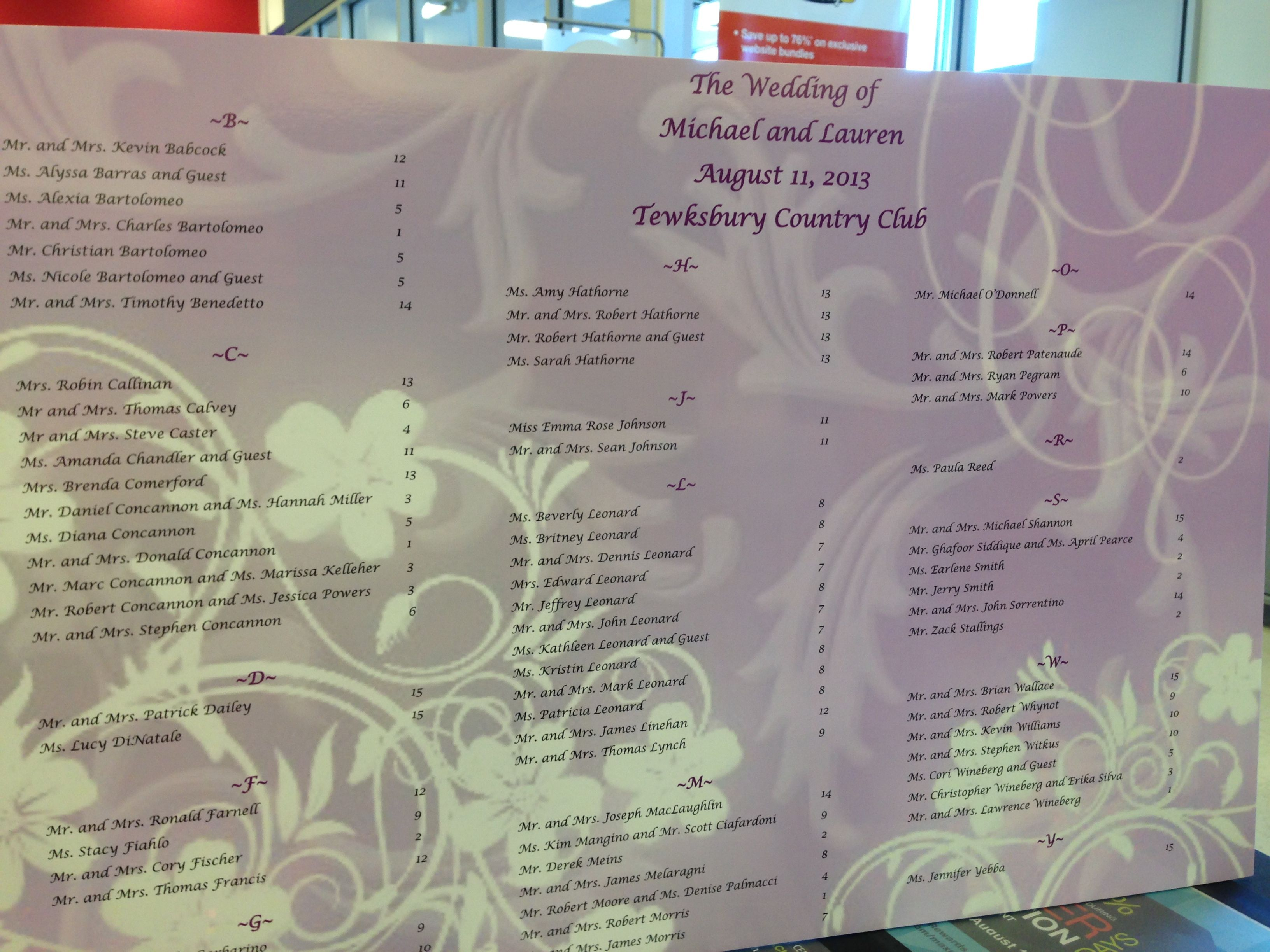 Wedding guest list idea widescreen diy menu for computer high quality