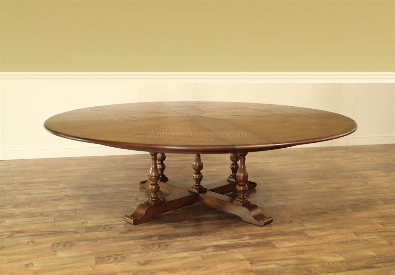 Expanding Round Dining Table With Self Storing Leaves Extra Large