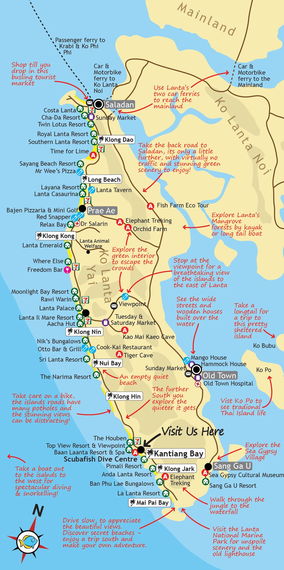 Ko Lanta Map this map of Ko Lanta in Southern Thailand features points of