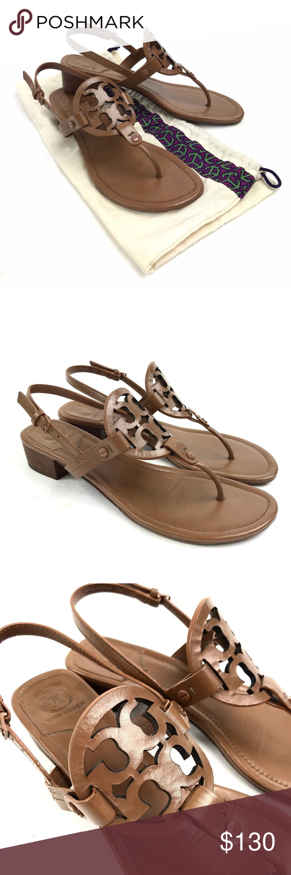 f1b24098549538 Tory Burch Miller Tan Block Heel Leather Sandal Tory Burch Women s Miller  Royal Tan Slingback Block