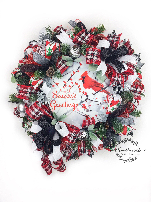 Cardinal Wreaths Holiday Wreaths Winter wreaths Black Christmas