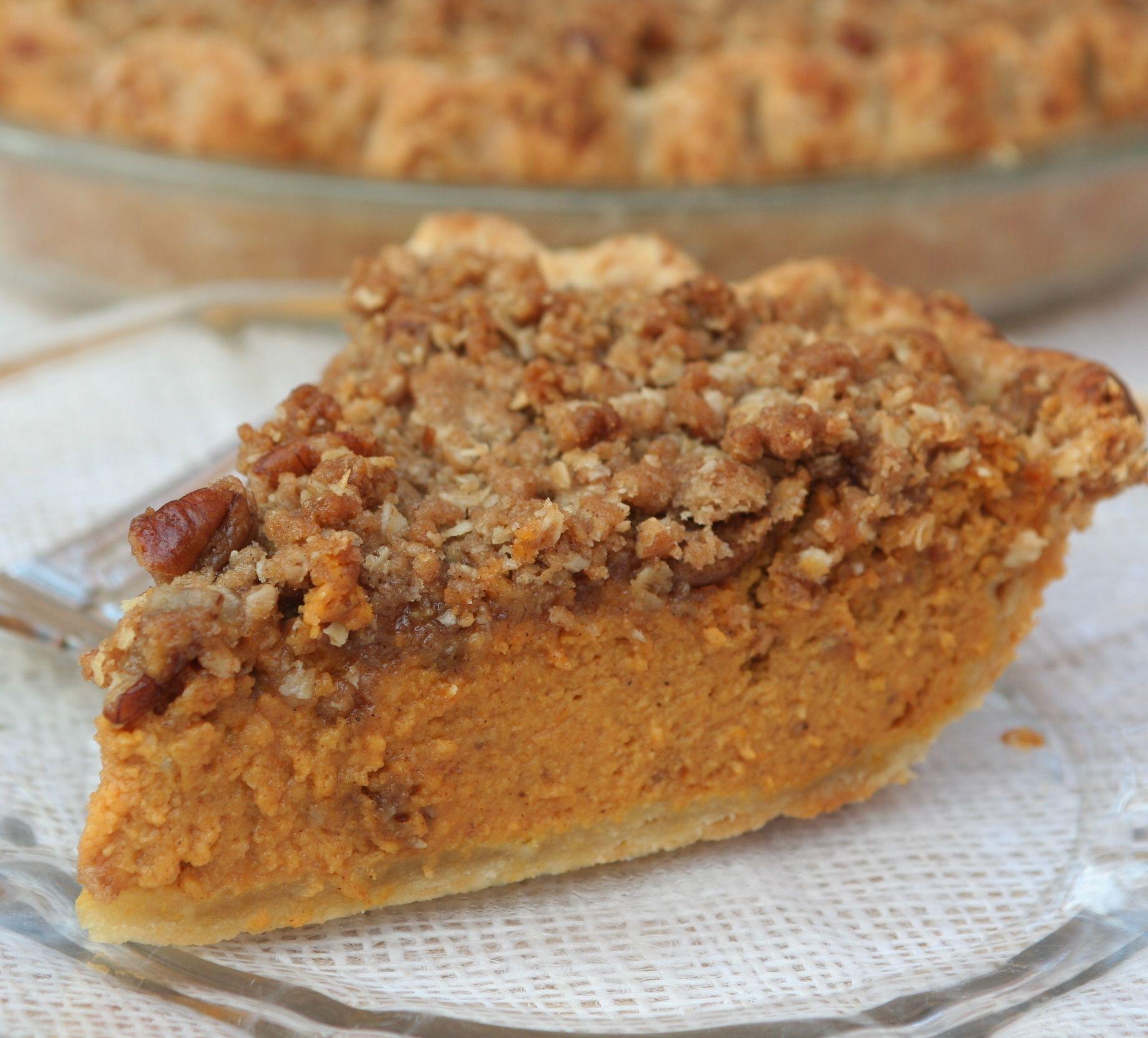 Thanksgiving Desserts Pecan Pie Pumpkin Pie More: Pecan-Streusel Topped Pumpkin Pie
