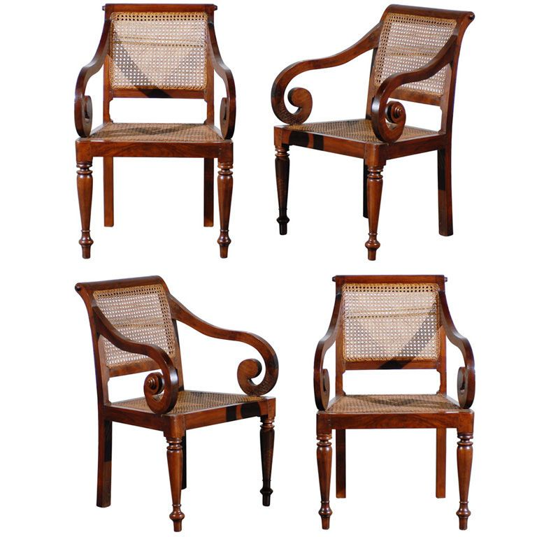 Perfect 19th C. Set Of Four Anglo Indian Chairs | 1stdibs.com