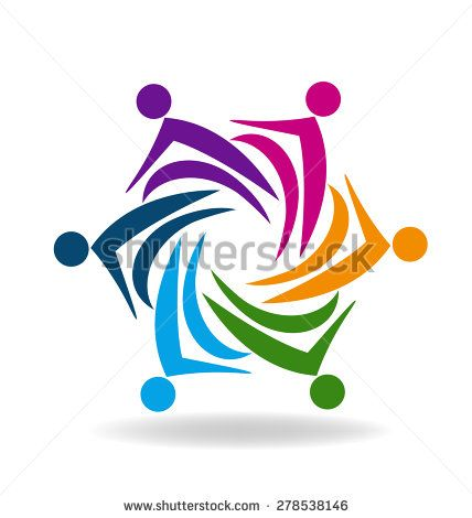 People social media logo design vector template. Teamwork internet ...
