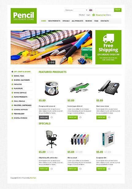 Template 44920 Pencil Stationary ZenCart Template Business
