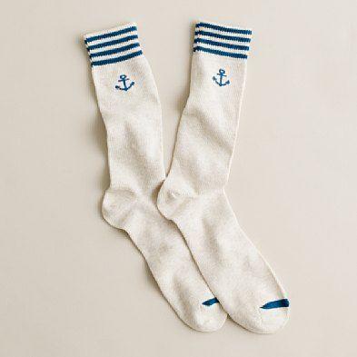 Anchor-stripe socks