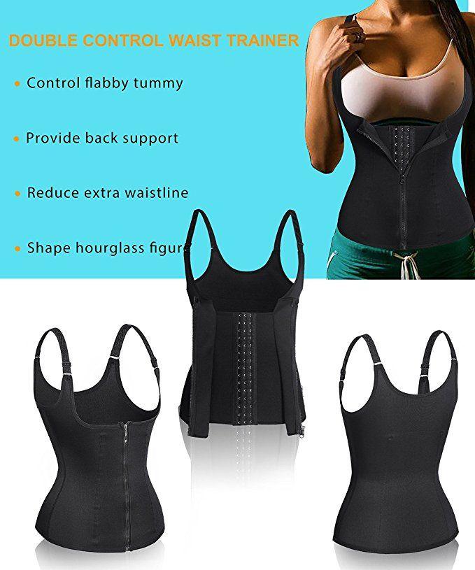 8d735927c0c Nebility Women Waist Trainer Corset Zipper Vest Body Shaper Cincher Tank  Top with Adjustable Straps at