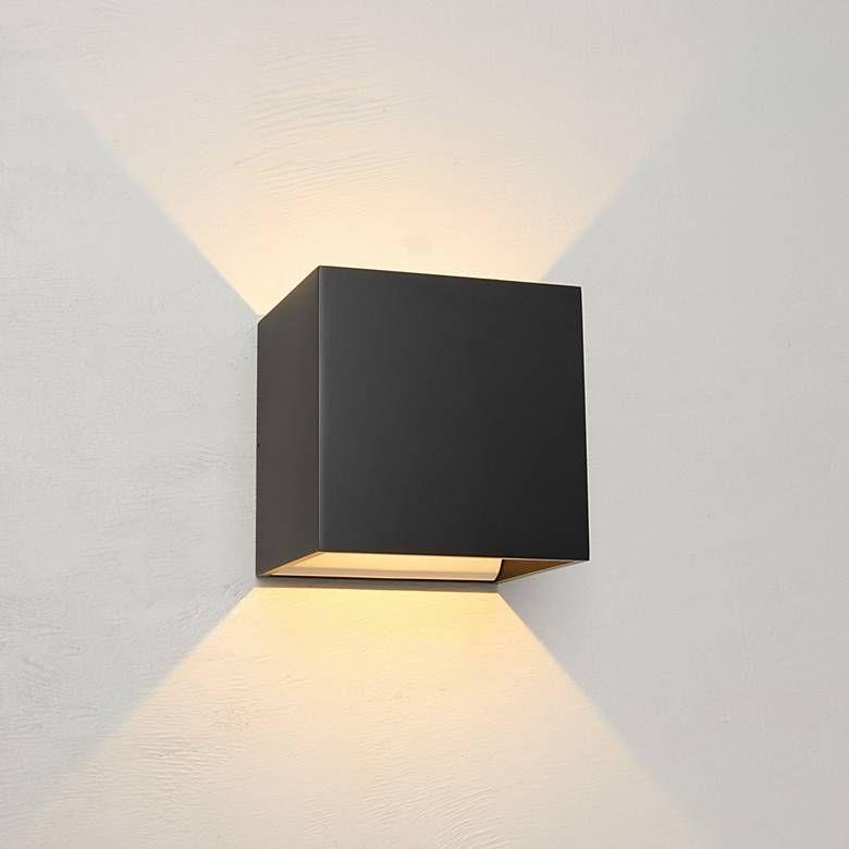 Bruck Qb 4 1 2 H Black Led Wall Sconce 11p25 Lamps Plus Exterior Wall Light Led Wall Sconce Wall Lights