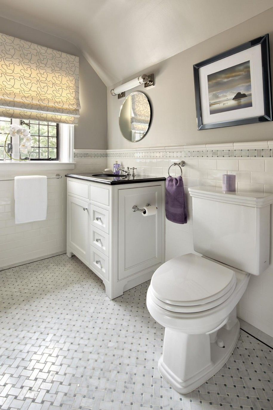 Stunning Basket Weave Tile For Classic Bathroom Design: Cool Bathroom Ideas  With Towel Hook And Vanity Cabinet Also Window Shades With Basket Weave  Tile ...