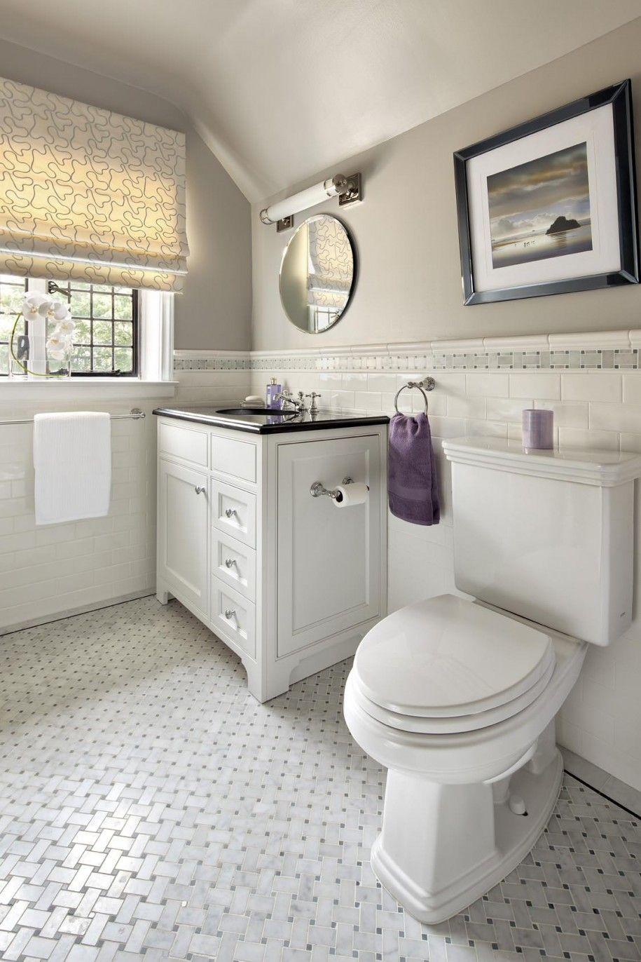 Stunning Basket Weave Tile For Classic Bathroom Design: Cool ...