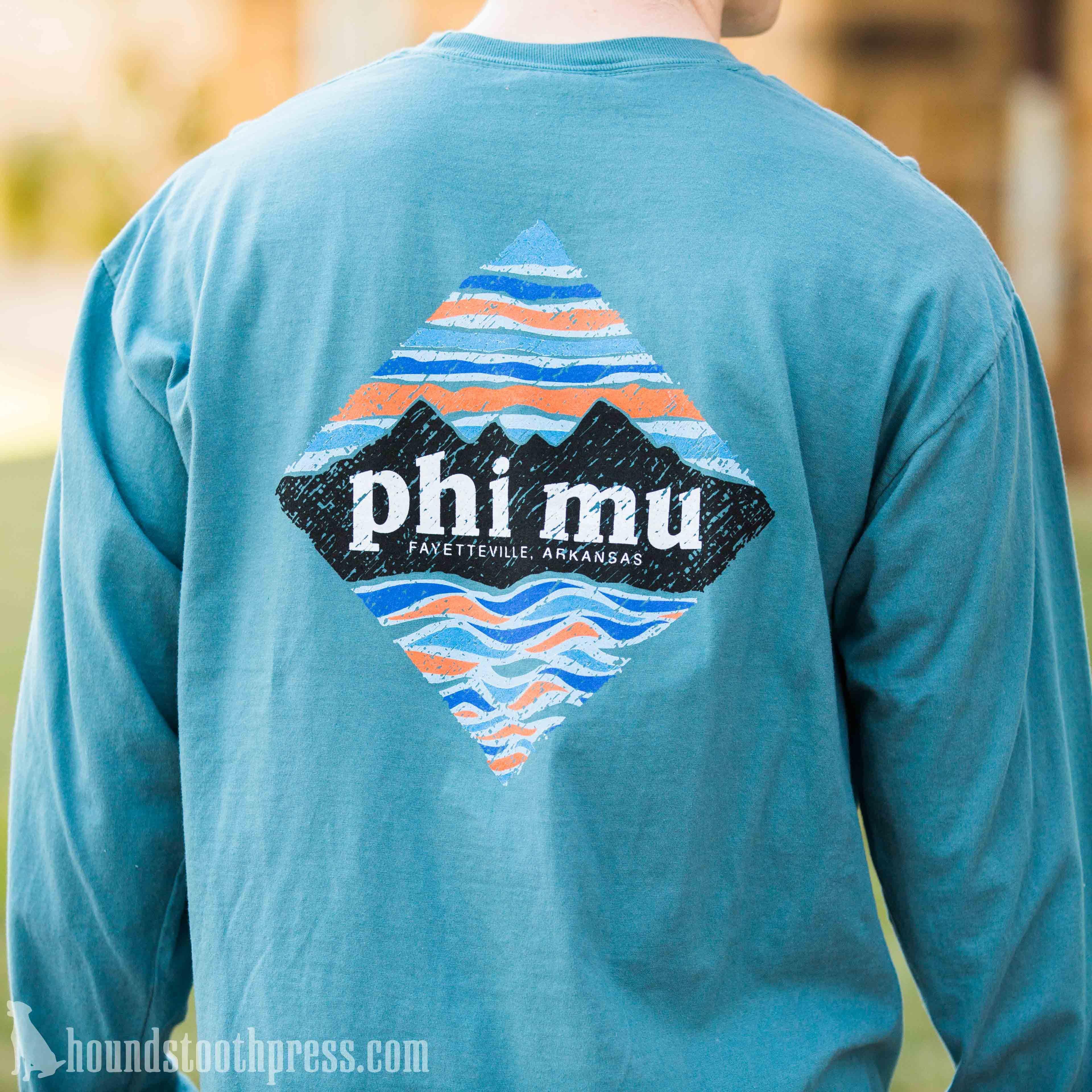 Phi mu patagonia long sleeve t shirt lovethelab for Custom sorority t shirts