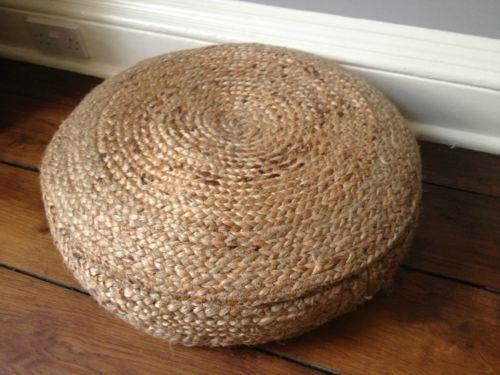 Exceptional Beautiful Seagrass/Hemp Floor Pouf Footstool