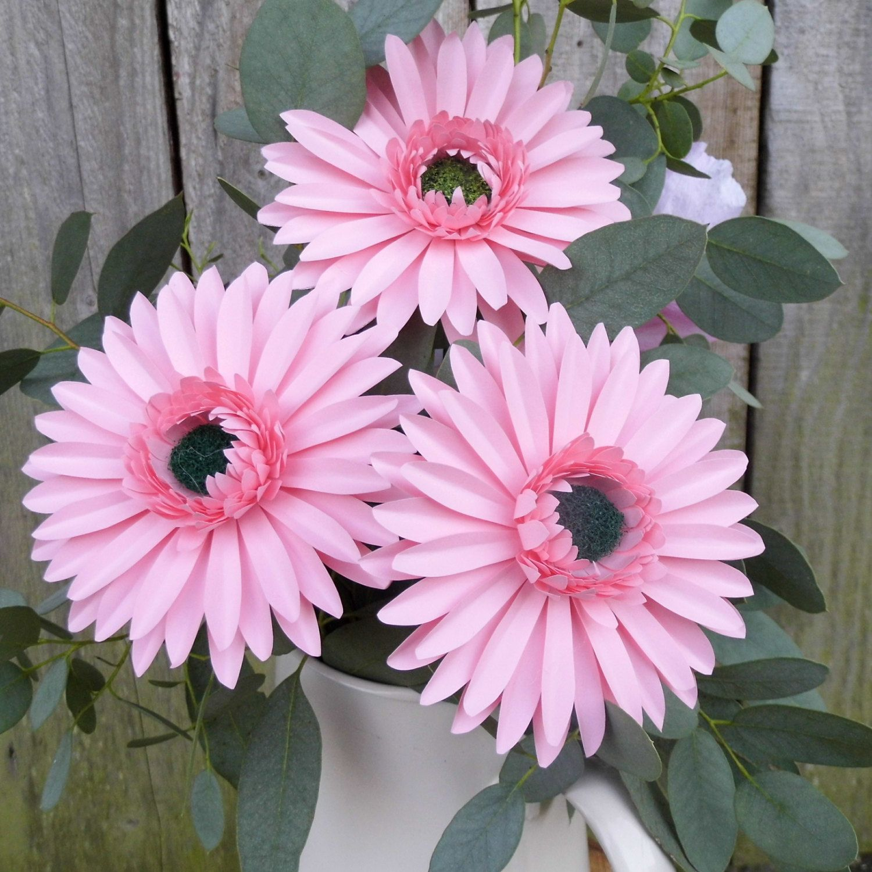3 X Gerbera Daisies Handmade Paper Flowers Feminine Design