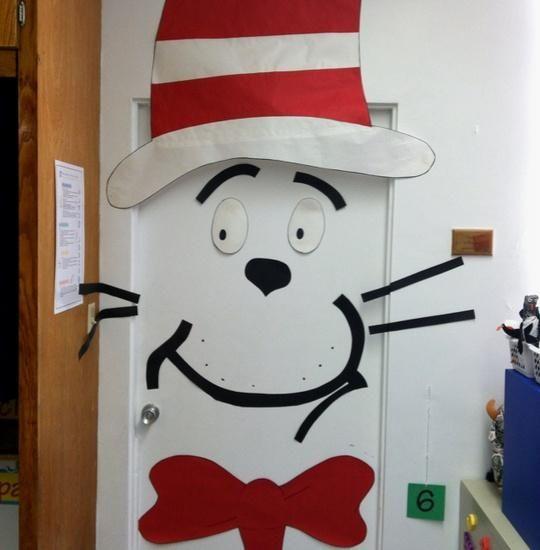 Cat In The Hat Door Display Dr Seuss Classroom Decorations Dr Seuss Classroom Door Decorations Classroom
