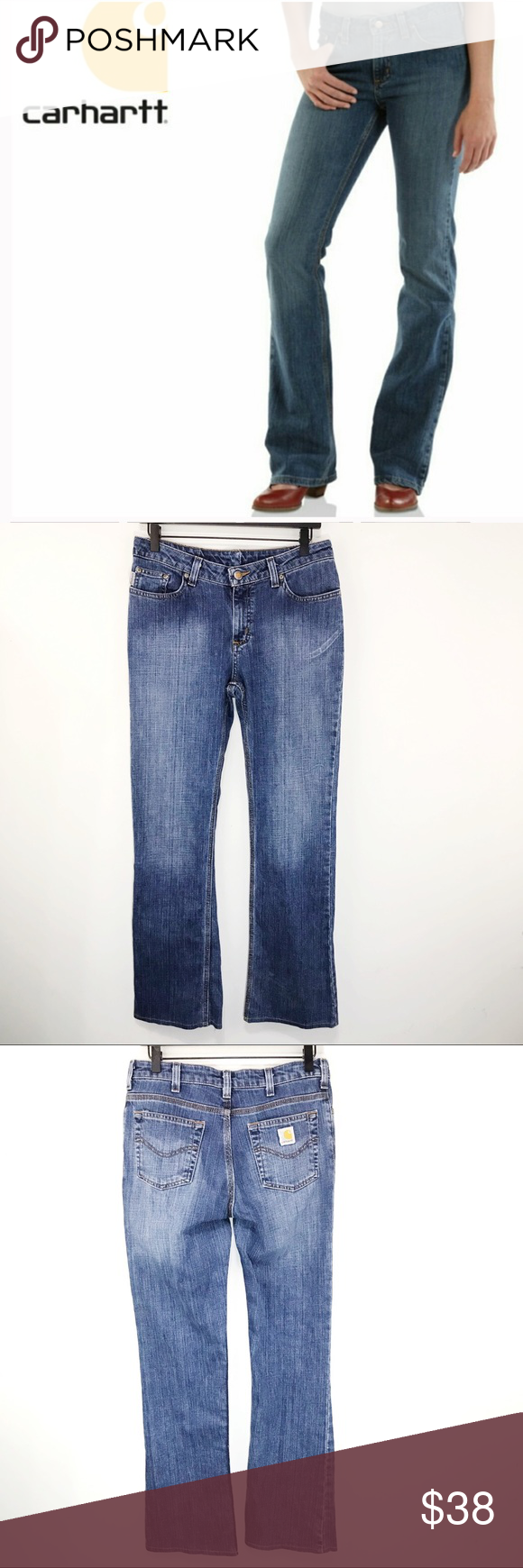 "Carhartt Womens Traditional Fit Jeans Bootcut Sz 6 Carhartt Womens Work Jean Traditional Fit Bootcut Blue Stretch Size 6x32. Condition is Pre-owned. Shipped with USPS Priority Mail.  Excellent Condition  Waist across 16"" Rise 10"" Inseam 32"" Carhartt Jeans Boot Cut #carharttwomen"