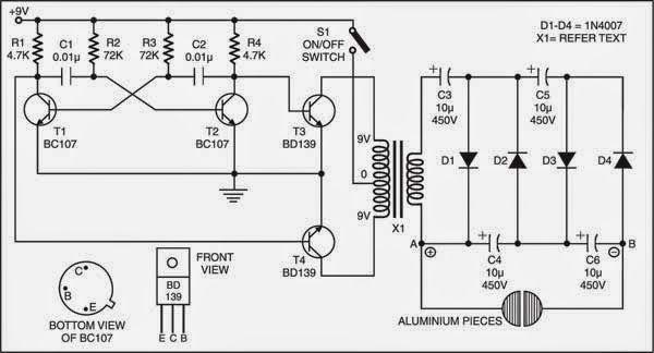 high voltage stun gun circuit diagram