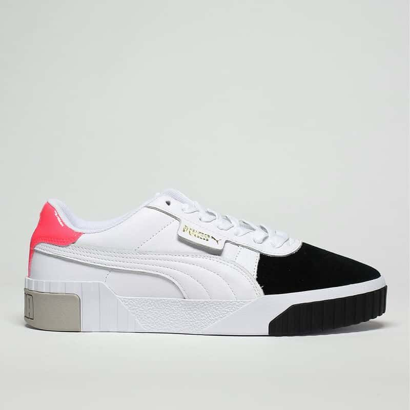 womens white & black puma cali remix trainers | schuh | Puma ...