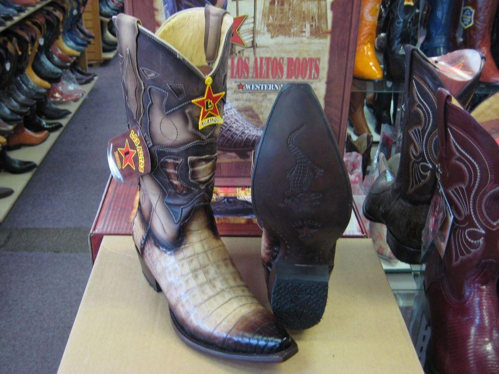 LOS ALTOS BEIGE GENUINE SNIP TOE CROCODILE WESTERN COWBOY BOOT (D) 92D8215 #LosAltos #CowboyWestern