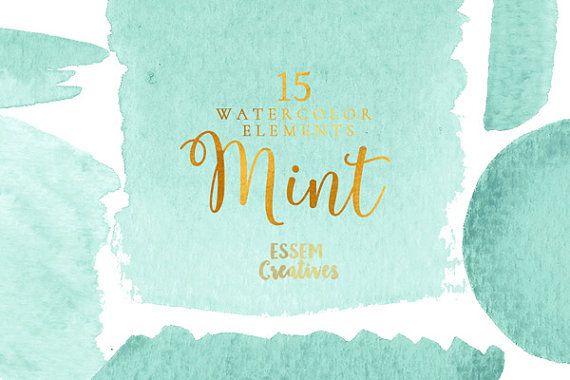Mint Green Watercolor Clipart Splash Watercolor Graphics Ombre