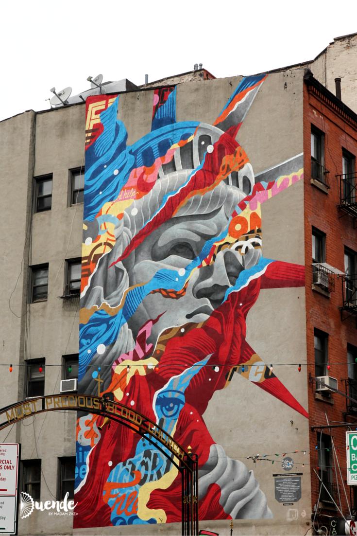 Art on the Street - NYC   Duende by Madam ZoZo #urbanart #streetart #graffiti #nyc #newyorkcity #travel #statueofliberty #liberty #tristaneaton