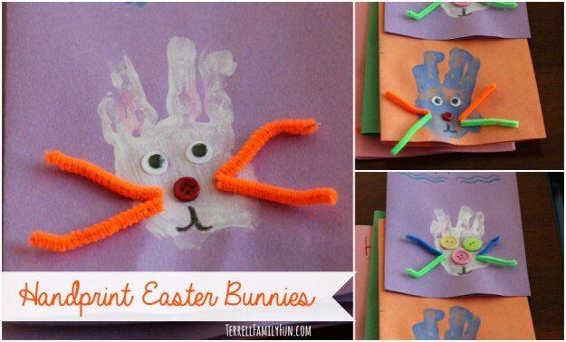 Handprint Easter Bunnies, Handprint Bunny #easter #craft