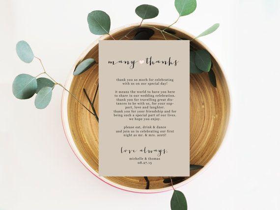 Printable Wedding Thank you Note, Napkin Thank You Card, Reception