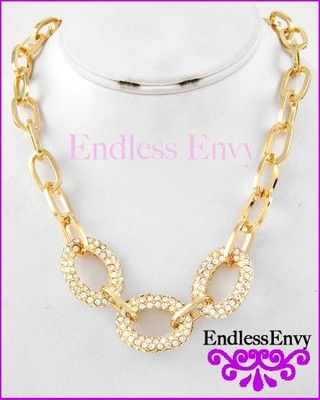 Classic Gold Pave Link Necklace Chain Fashion #Jewelry #EndlessEnvy #StyleEnvy #Gold #Pave #Necklace #Fashion #Bling #Glam #Glitz #Classic #Link #Chain #Style #Gifts #Weddings