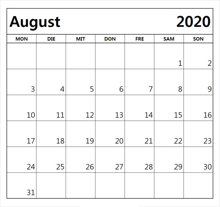 Kalender August 2020 Word Vorlagen Pdf Nosuvia Com In 2020 Kalender August Kalender Zum Ausdrucken Kalender Vorlagen