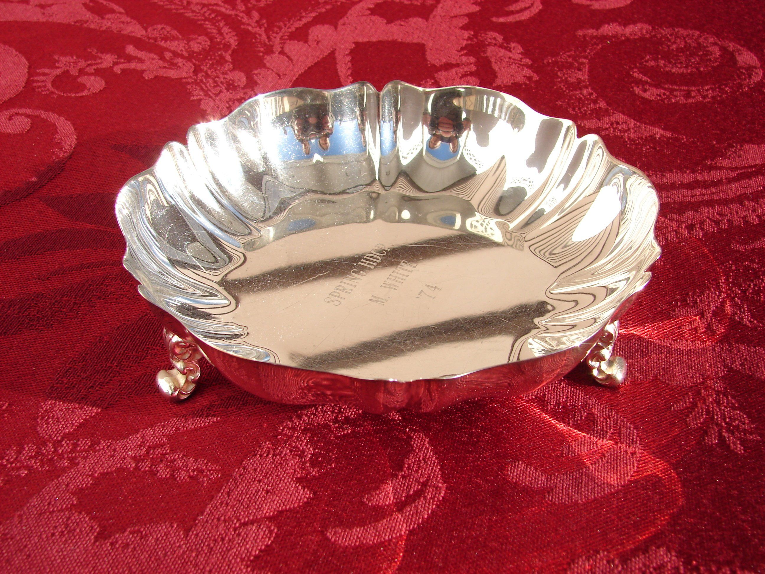 Silver Ornate Edged Footed Long Dish Silver Metal Double Handle Serving Dish Silver Metal Art Nouveau Style Relish Dish