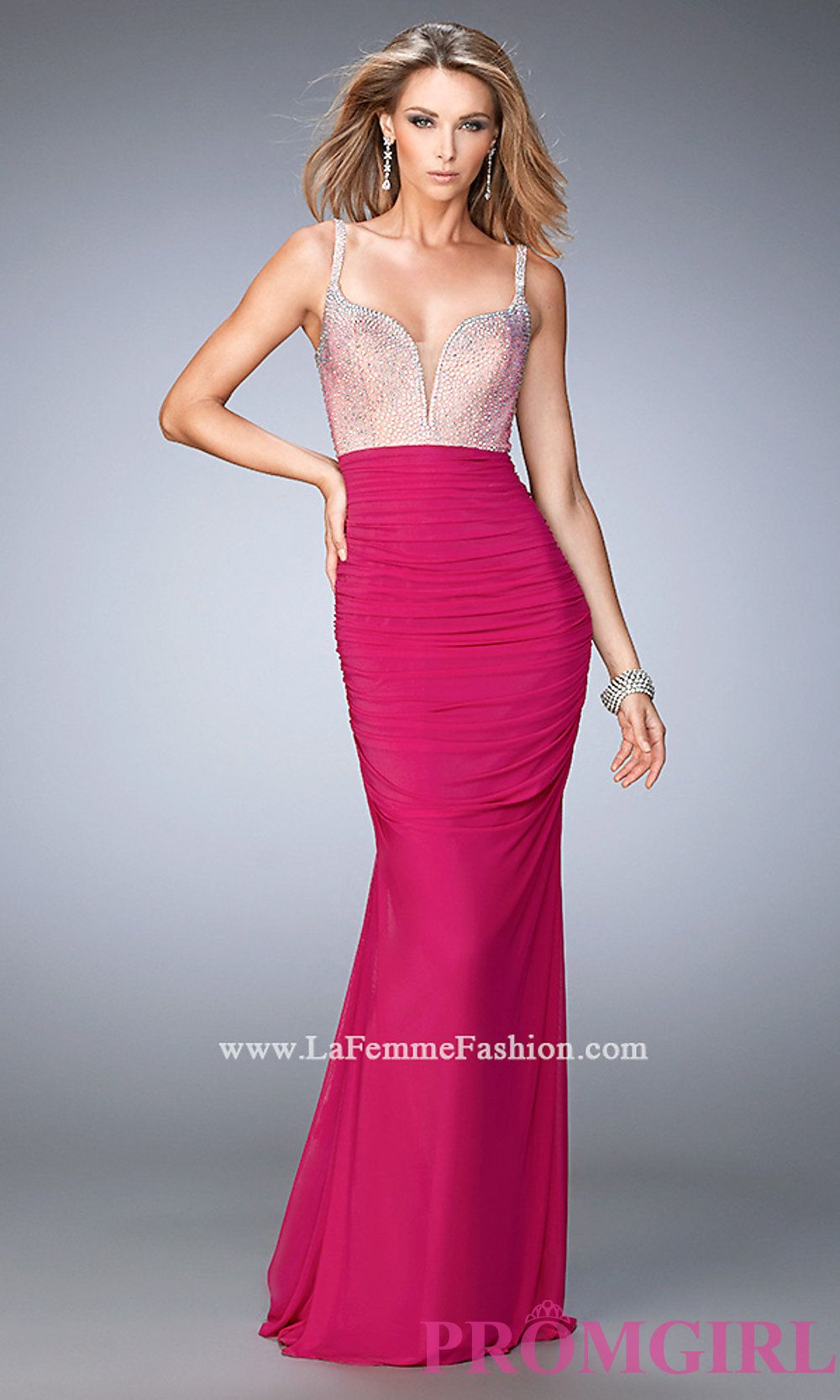 Long Ruched Prom Dress With Beaded Top By La Femme Style Lf 21971