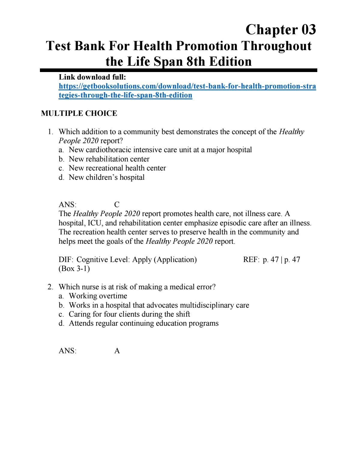 ... answer key for textbook Array - download health promotion strategies  through the life span 8th rh pinterest ie
