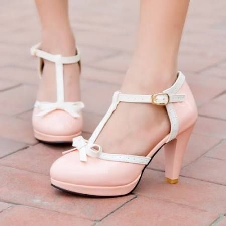 Plus Size New Ladies Womens Mary Jane Lolita Bowknot T-Bar Stiletto high  Heels