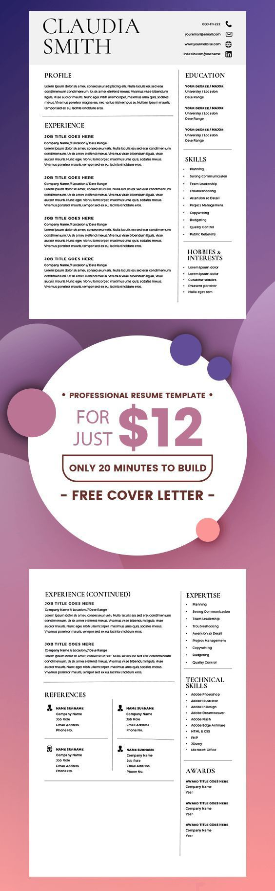 Medical Resume Template Word, Minimalist Resume with Cover Letter ...