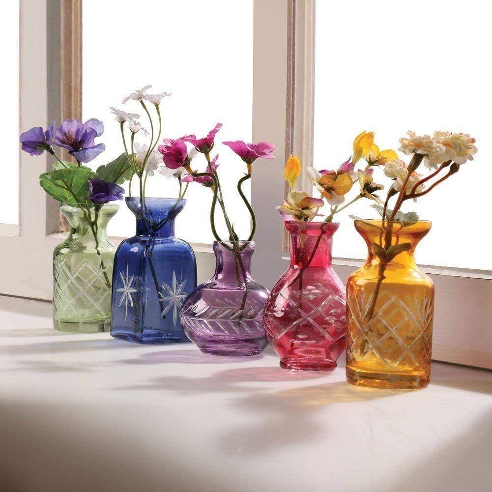Art /& Artifact 3-Piece Glass Bud Vase Set Pink Purple and Green Flower Holders