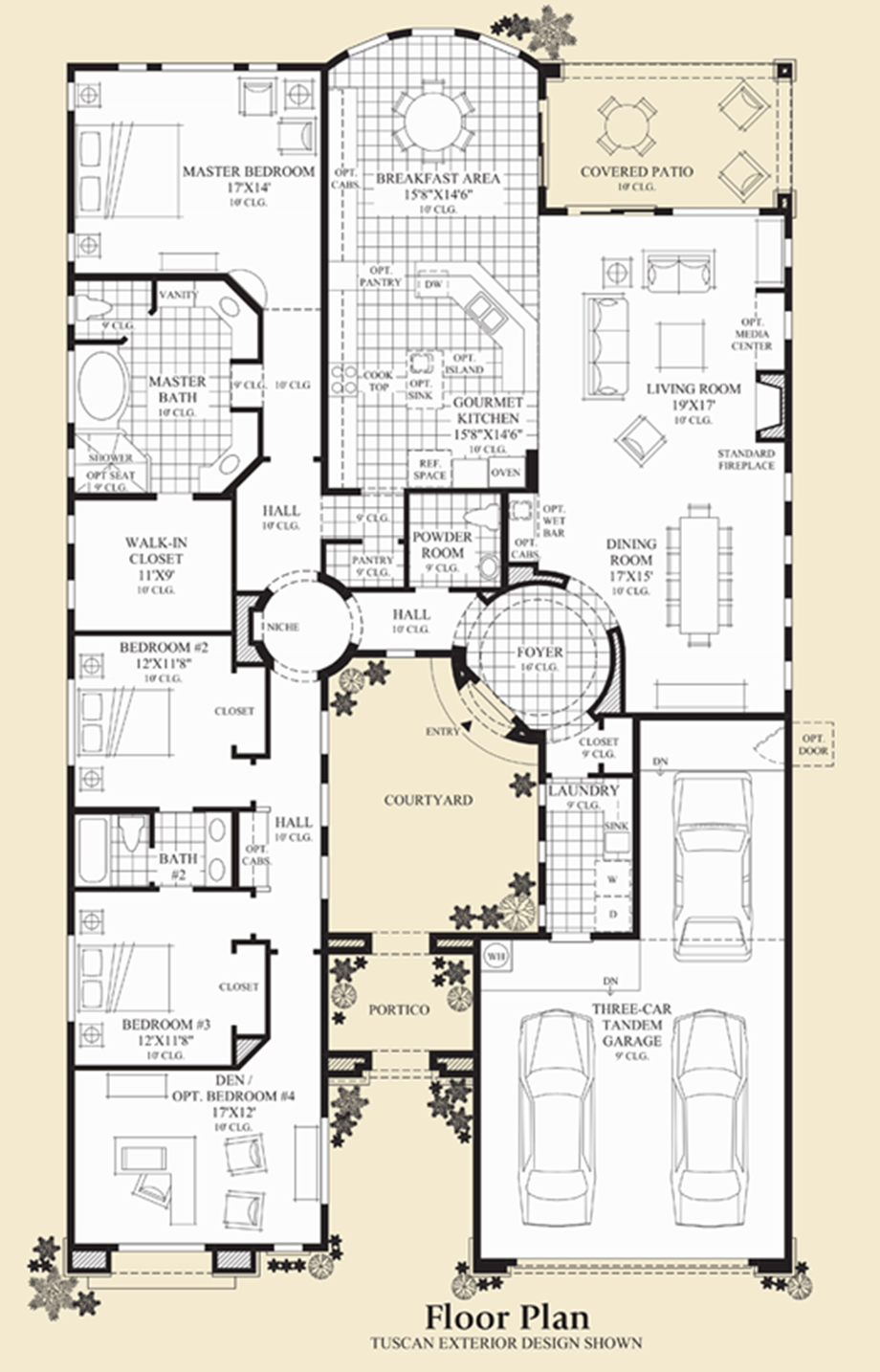 Court Yard Offers More Protection And Security For Front Door Den Or Office As Front Room Pr Courtyard House Plans House Layout Plans Home Design Floor Plans