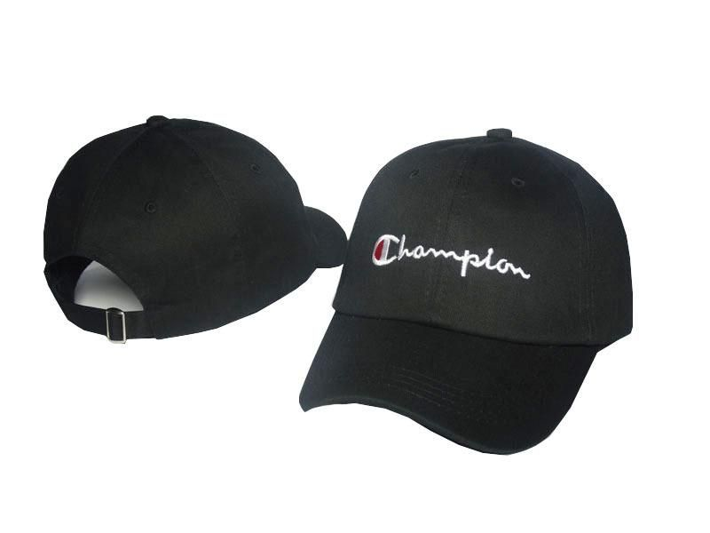 Men's / Women's Champion Brand Script Logo Embroidery Curved Dad Hat - Black
