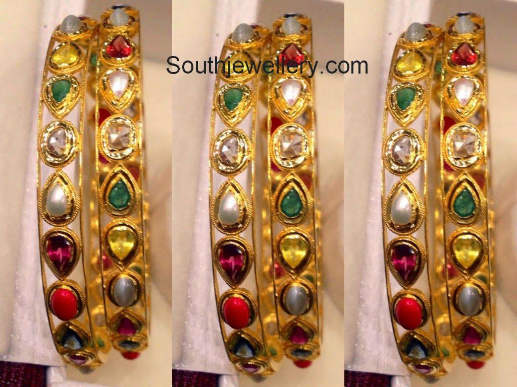 navratna bangles   22 Carat Gold Bangles   Bangles, Pendant