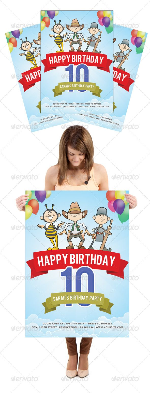 B day poster designs - Happy Birthday Party Flyer Poster