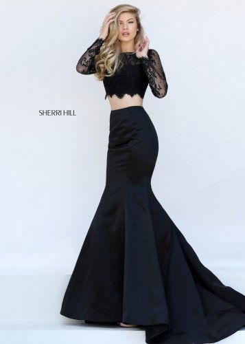 2016 Sherri Hill 50467 Illusion Long Sleeve 2 Pc Mermaid Gown ...