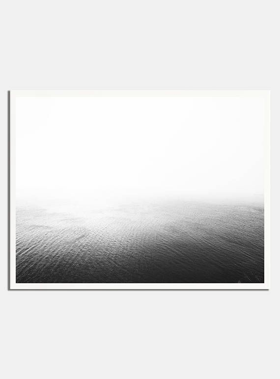 Printable black and white ocean print ocean photo minimalist print scandinavian print water print sea horizon beach print art prints