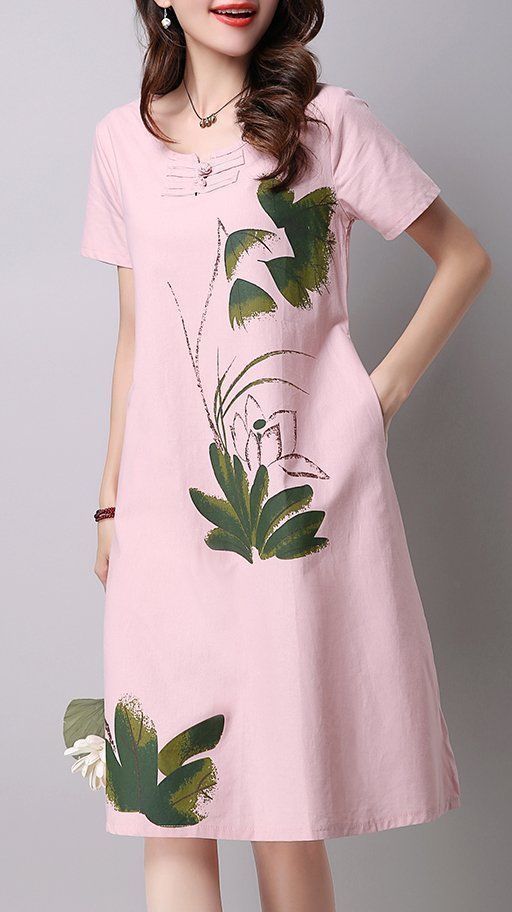 0d96711be0d Women loose fit plus over size water lily flower pocket dress tunic fashion  chic  unbranded