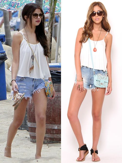 High waisted shorts   swing tank. #selenagomez #outfit | Get the ...