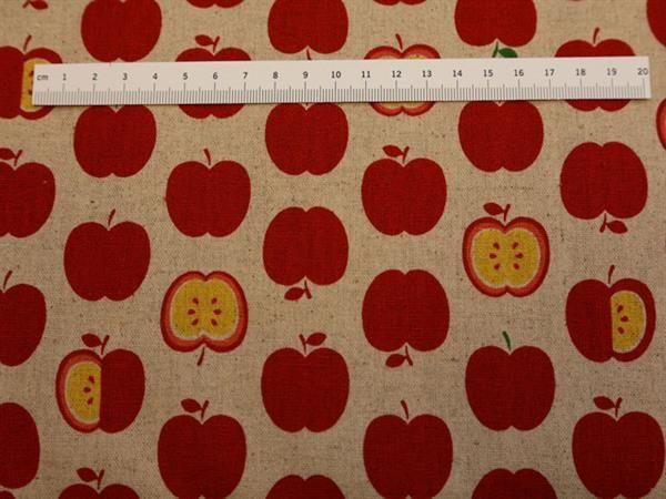 Røde Æbler på Bomuld-hørstof. Er et flot hørfarvet stof med flotte røde æbler.