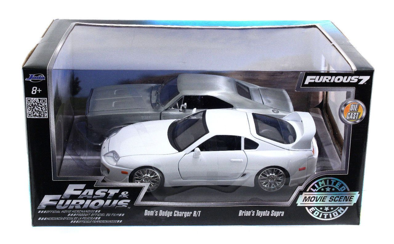 Jada 1 24 scale fast furious brians white toyota supra doms dodge charger r